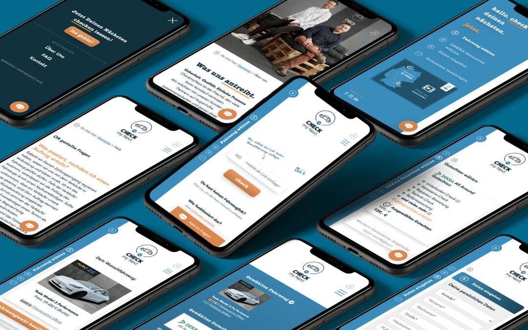 Die mobile Website von CheckmyNext auf Smartphones