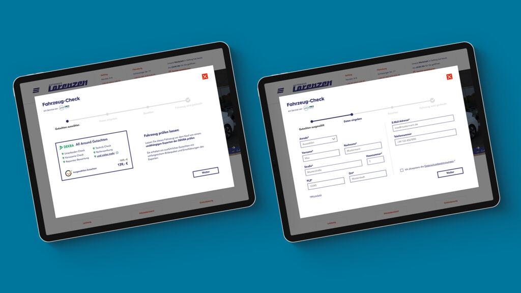 Beispiele einer Einbettung von CheckmyNext Services in die Website eines Autohauses